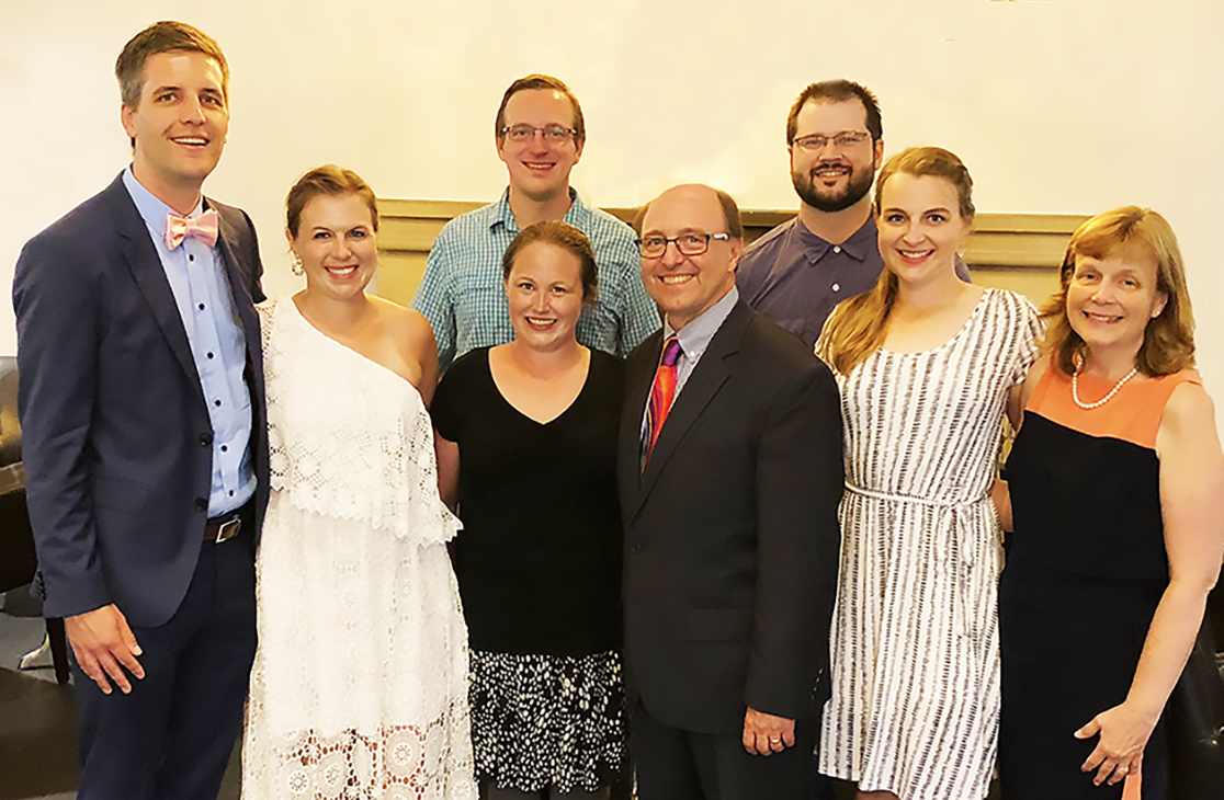 David and Julie Bard have three children: (L to R) daughter Beth with husband Michael, son David with wife Kristina, Bishop David, daughter Sarah with husband and Julie Bard.